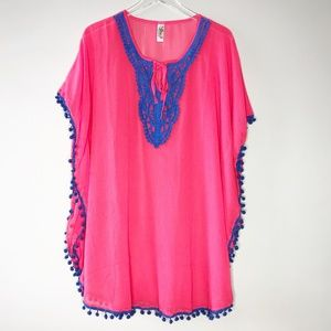 Pink and Blue Knee Length Cover-up